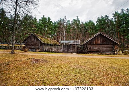 Old Buildings In Ethnographic Open Air Village Of Riga Baltic