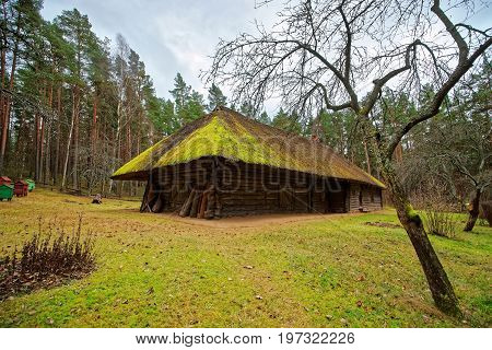 Old Building In Ethnographic Open Air Village Near Riga Baltic