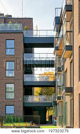 Glass Modern Architecture Of Apartment Residential Building