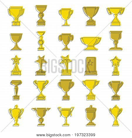Gold award doodle cartoon icons set. Award doodle vector illustration for design and web isolated on white background. Gold award vector object for labels, logos and advertising