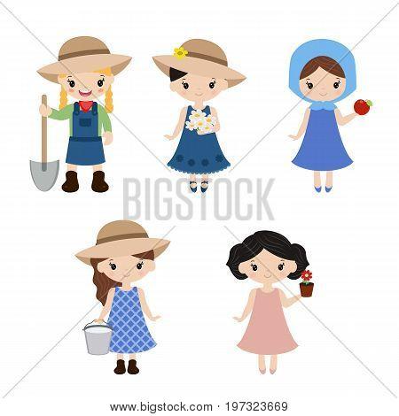 Set Of Farmer Girls