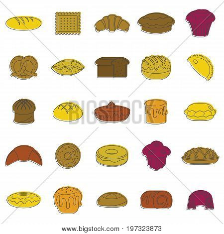 Bakery products doodle icons set. Bakery products vector illustration for design and web isolated on white background. Bakery vector object for labels, logos and advertising