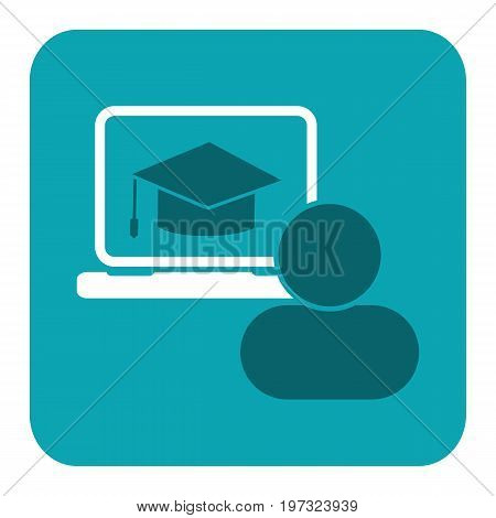 Education icon. Flat vector illustration for e-learning and online education. Vector Illustration