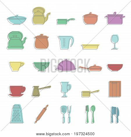 Dishes doodle icons set. Dishes vector illustration for design and web isolated on white background. Dishes doodle vector object for labels, logos and advertising