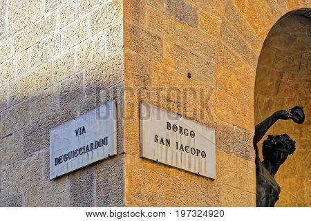 Via De Guicciardini And Borgo San Iacopo Street Sign