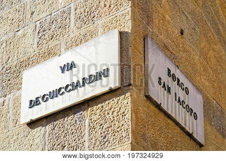 Via De Guicciardini And Borgo San Iacopo Street Sign Florence