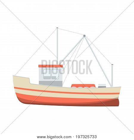 Vector illustration of sea fishing boat on white background. Fishing equipment and fish farming topics.