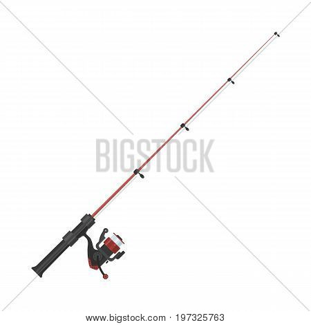 Vector illustration of fishing rod on white background. Fishing equipment and fish farming topics.