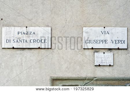 Piazza Di Santa Croce And Via Giuseppe Verdi Street Sign