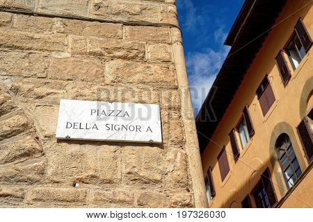 Piazza Della Signoria Street Sign On Wall In Florence