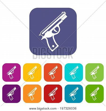 Gun icons set vector illustration in flat style in colors red, blue, green, and other