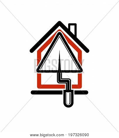 Classic spatula icon build materials. House with work tools plastering. Home reconstruction idea repair team stylized symbol.