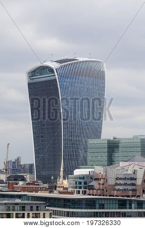 LONDON UNITED KINGDOM JUNE - 22 2017: London's primary financial district City of London modern office buildings . As of 2017 there are 17 skyscrapers in London that reach a roof height of at least 150 meters
