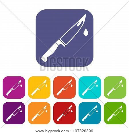 Steel knife icons set vector illustration in flat style in colors red, blue, green, and other