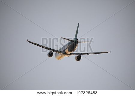 Beautiful Airplane. Landscape With Big White Passenger Airplane Is Flying In The Sky. Commercial Air