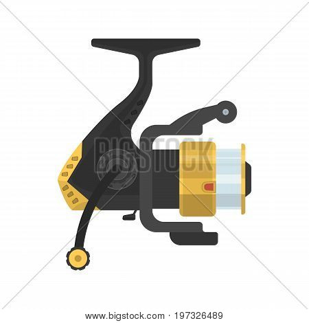 Vector illustration of fishing fixed-spool reel on white background. Fishing equipment and fish farming topics.
