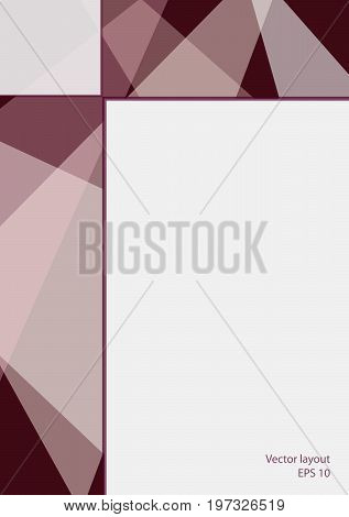 Cover layout modern design. Abstract geometric bordo background with text place. Technology template for magazines, brochures, leaflets, booklets, prospectuses, annual reports, posters, flyers. EPS10 vector illustration, size A4