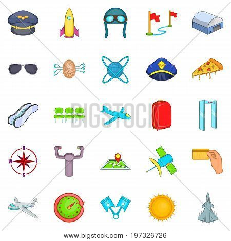 Aircraft pilots icons set. Cartoon set of 25 aircraft pilots icons for web isolated on white background