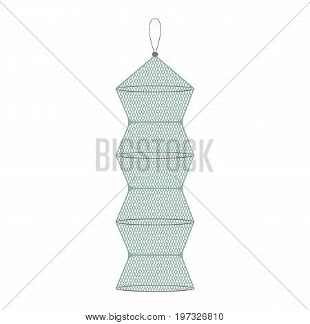 Vector illustration of fishing keeping net on white background. Fishing equipment and fish farming topics.