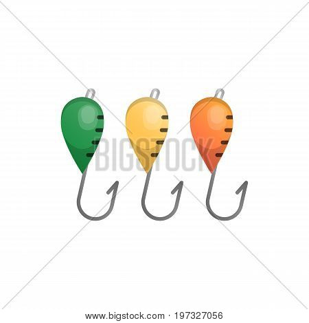 Vector illustrations set of fishhooks on white background. Fishing equipment and fish farming topics.