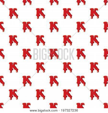 K letter isolated on white background. Red bloody K letter vector illustration