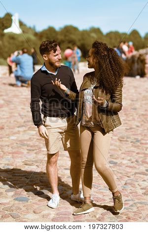 Young Middle Eastern Girl Having Conversation With Her Boyfriend