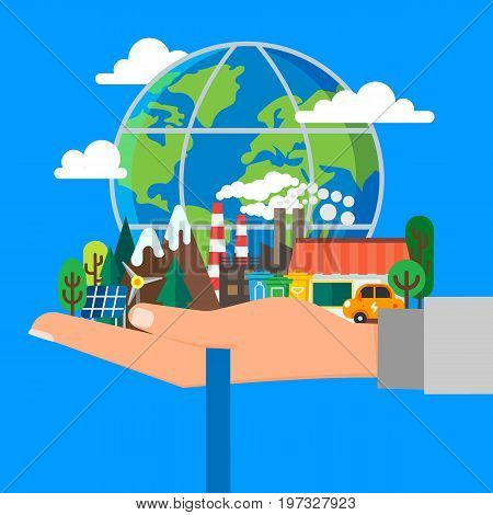 Vector illustration in modern flat style. Ecology concept hand holding the planet with alternative fuels mountains and a waterfall. Green lifestyle concept for web banners and info graphic.