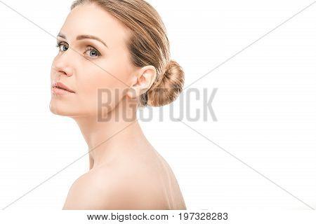 Mature female beauty health care studiio portrait thinking