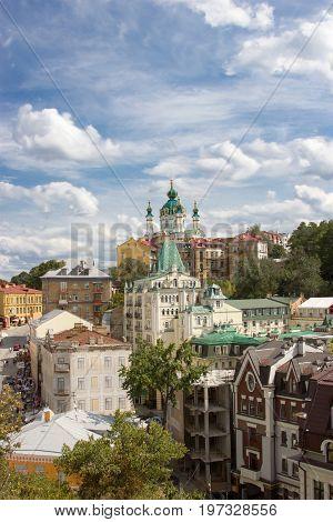 Nice view at Andriivska church by Rastrelli, Kiev, Ukraine
