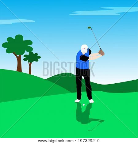 Illustration of golf player on golf course