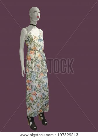 Full-length female mannequin wearing summer sleeveless dress isolated. No brand names or copyright objects.