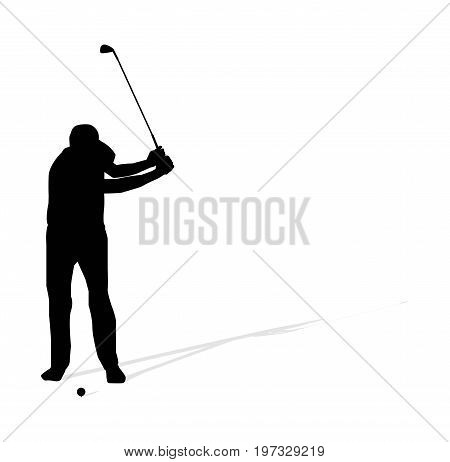 Vector illustration of golf athlete on white background