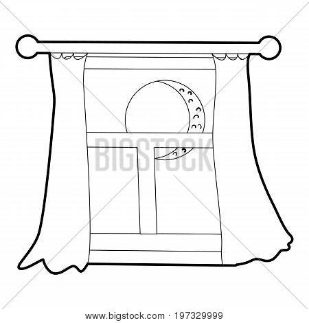 Night window icon. Outline illustration of night window vector icon for web design