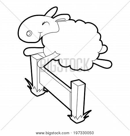 Sheep jumping over the barrier icon. Outline illustration of sheep vector icon for web design