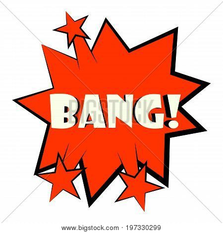 Bang explosion sound effect icon. Cartoon illustration of bang sound effect vector icon for web design