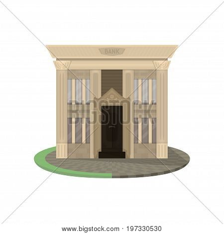 Vector flat building of a beige bank with four windows, bricks and a big dark door. The illustration is made with transparencies and Live Paint grass and tiles, without gradients.