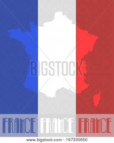 Vector map of France in colors of the French flag made in pop art style with Ben-Day dots. With transparency and blending modes.