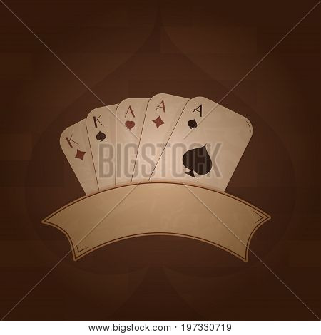 Vector image of poker full house with a vintage frame on a brick background: 3 aces spades, hearts, diamonds, 2 kings spades, diamonds. The illustration is made with transparencies and a gradient.