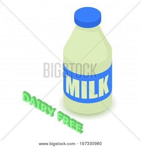 Dairy allergen free icon. Isometric illustration of dairy vector icon for web design