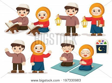 Isolated vector. Muslim Boy and Girl reading Quran The Holy Book of Islam Carrying Ramadan Lanterns Praying in the room.