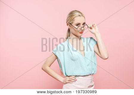 Young female fashion look model style concept eyeglasses