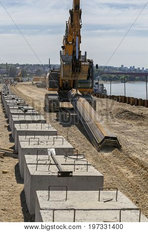 Machinery On Revetment Construction Site