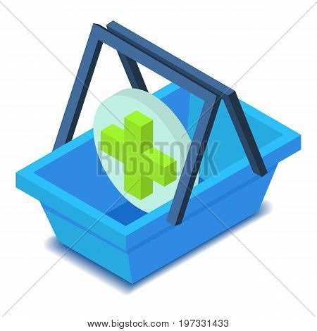 Shopping basket with green cross icon. Isometric illustration of shopping basket vector icon for web design