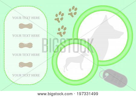 Flat vector scrapbooking sample for dogs. Made with simple isolated shapes.