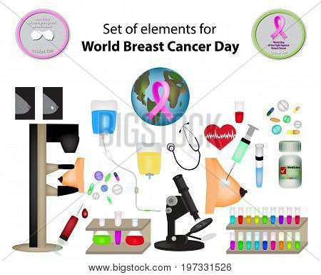 A set of elements for World Breast Cancer Day. Mammography. Infographics. Vector illustration on isolated background.
