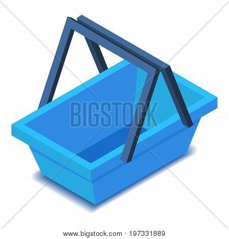 Blue shopping basket, icon. Isometric illustration of shopping basket vector icon for web design