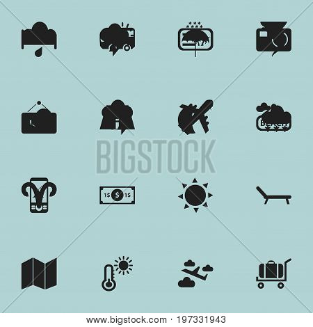Set Of 16 Editable Trip Icons. Includes Symbols Such As Plage, Motorbus, Camera And More