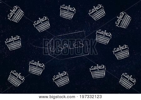 Sales Item Label Surrounded By Flying Shopping Baskets