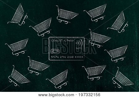 Credit Card Surrounded By Empty Flying Shopping Carts