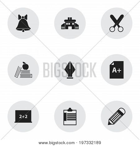 Set Of 9 Editable Knowledge Icons. Includes Symbols Such As Writing Board, Supervision List, Page And More